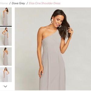 Show me your mumu dove grey one shoulder